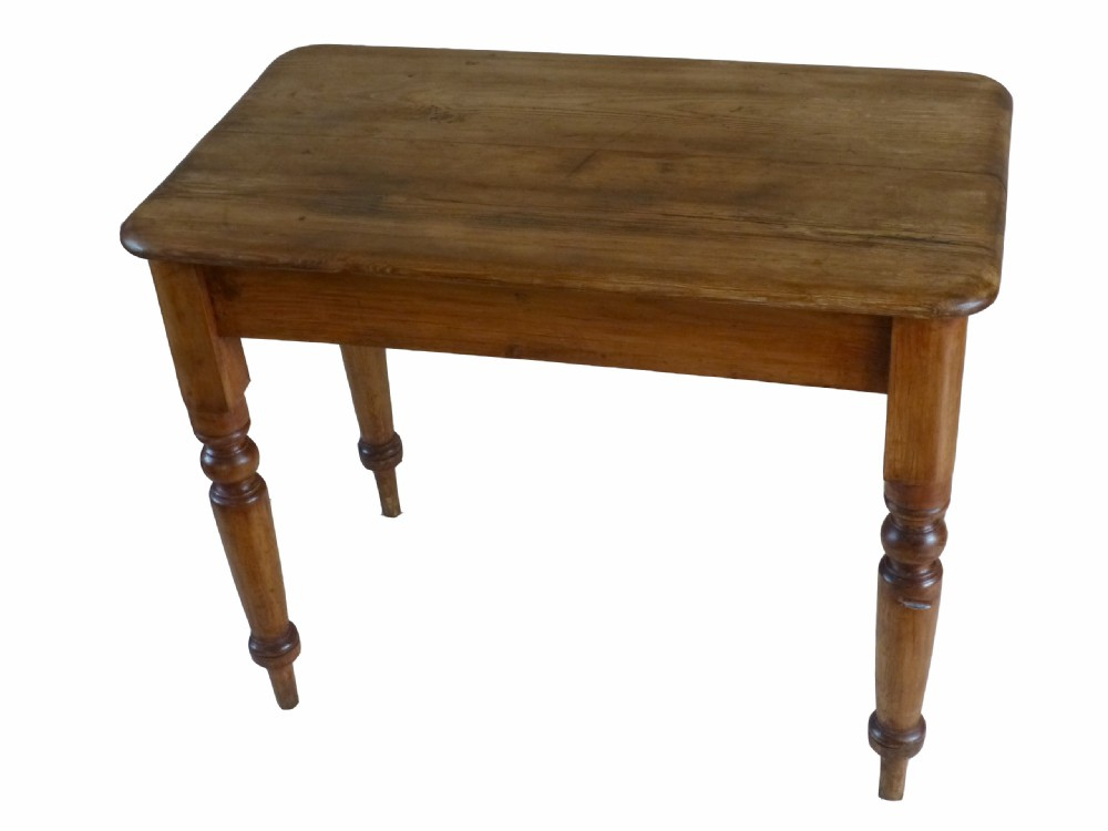 Small Antique Victorian Pine Kitchen Side Table