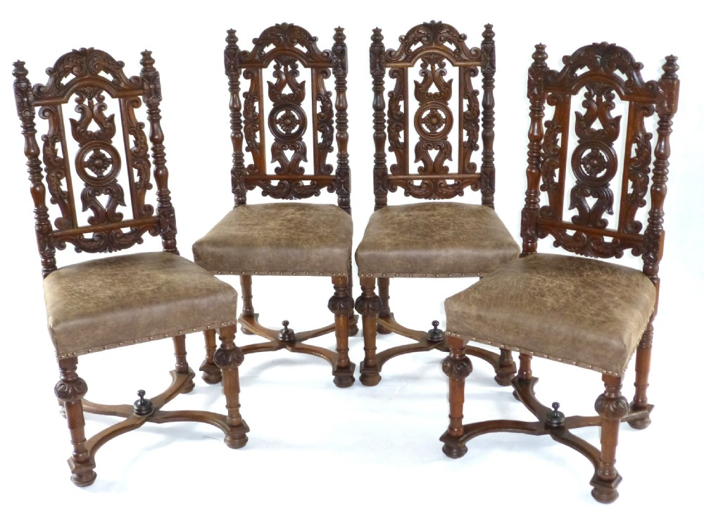 set of 4 19thc jacobean carved oak dining chairs. antique photo - Set Of 4 - Antique Jacobean Chairs Antique Furniture