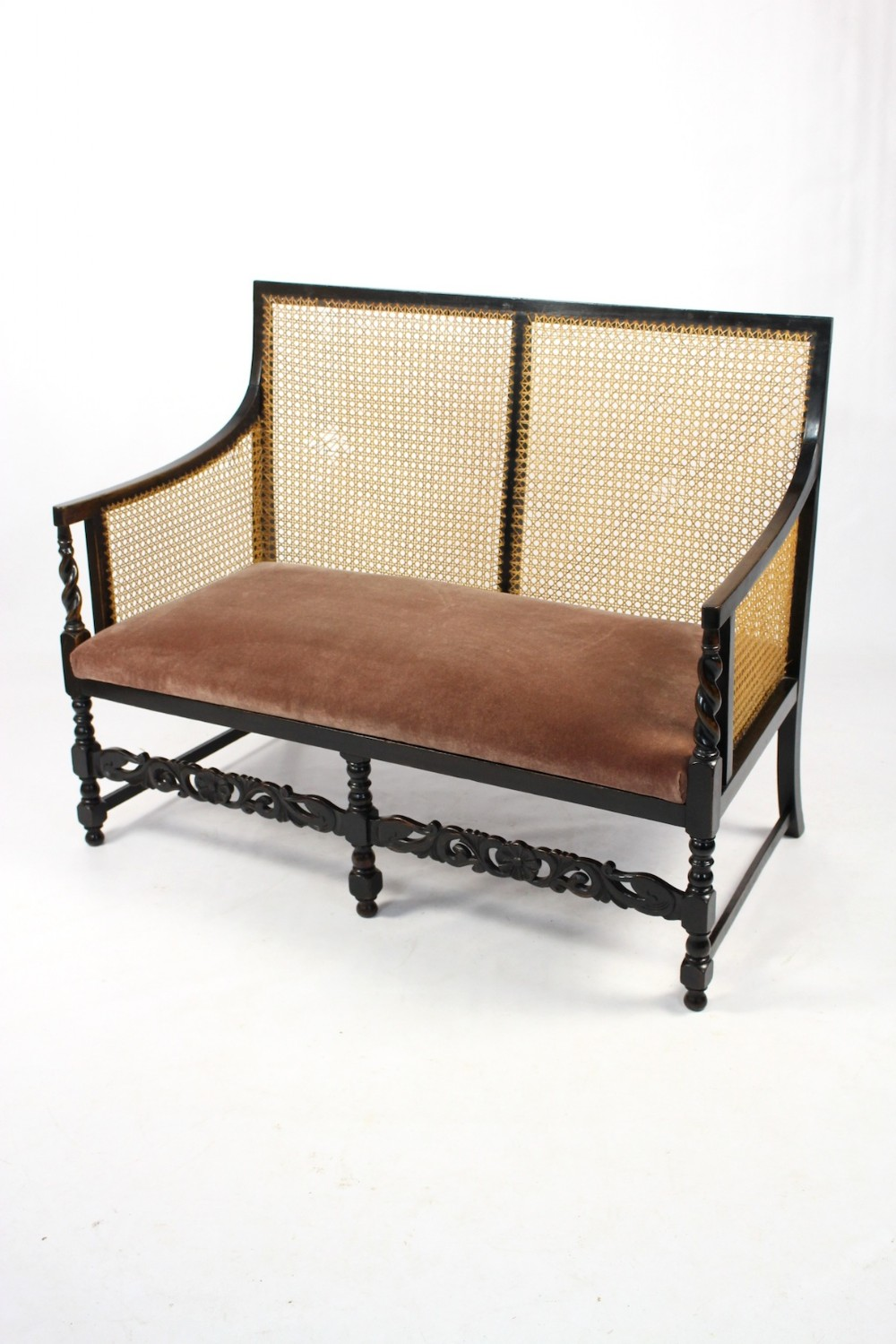 Antique Edwardian Ebonised Beech Bergere Cane Sofa Settee Seat 340942