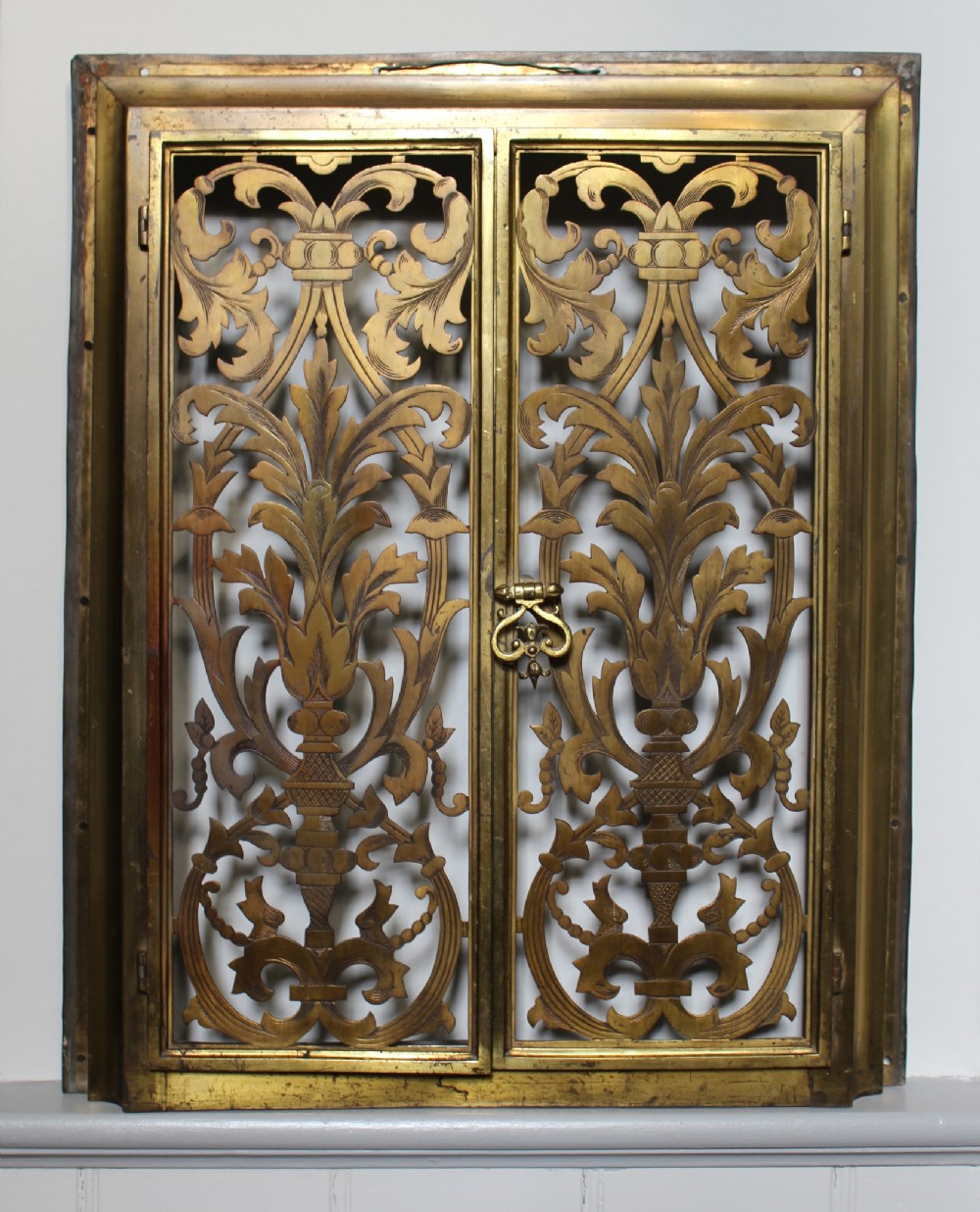 Antique French Pierced & Chased Brass Doors | 254118 | Sellingantiques.co.uk
