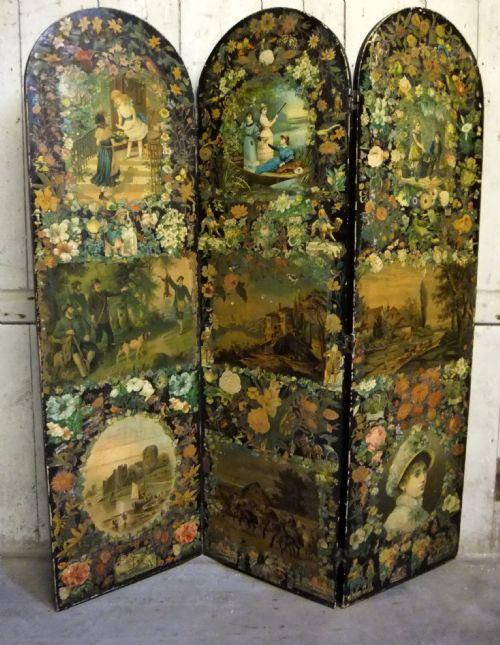 Antique Victorian Decoupage Scrap Screen 201892