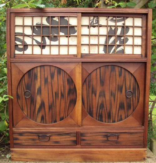 A Japanese Wall Cabinet Circa 1910 With Sliding Doors