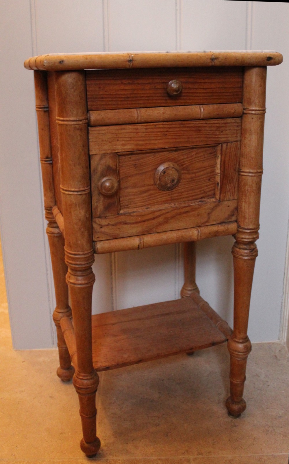Old Bedside Table: Antique French Faux Bamboo Pot Cupboard \ Bedside Table