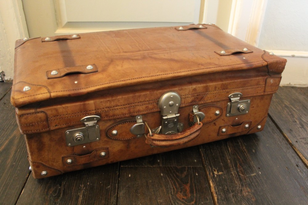 A Large Vintage Tan Leather Suitcase With Chrome Studs | 251530 ...