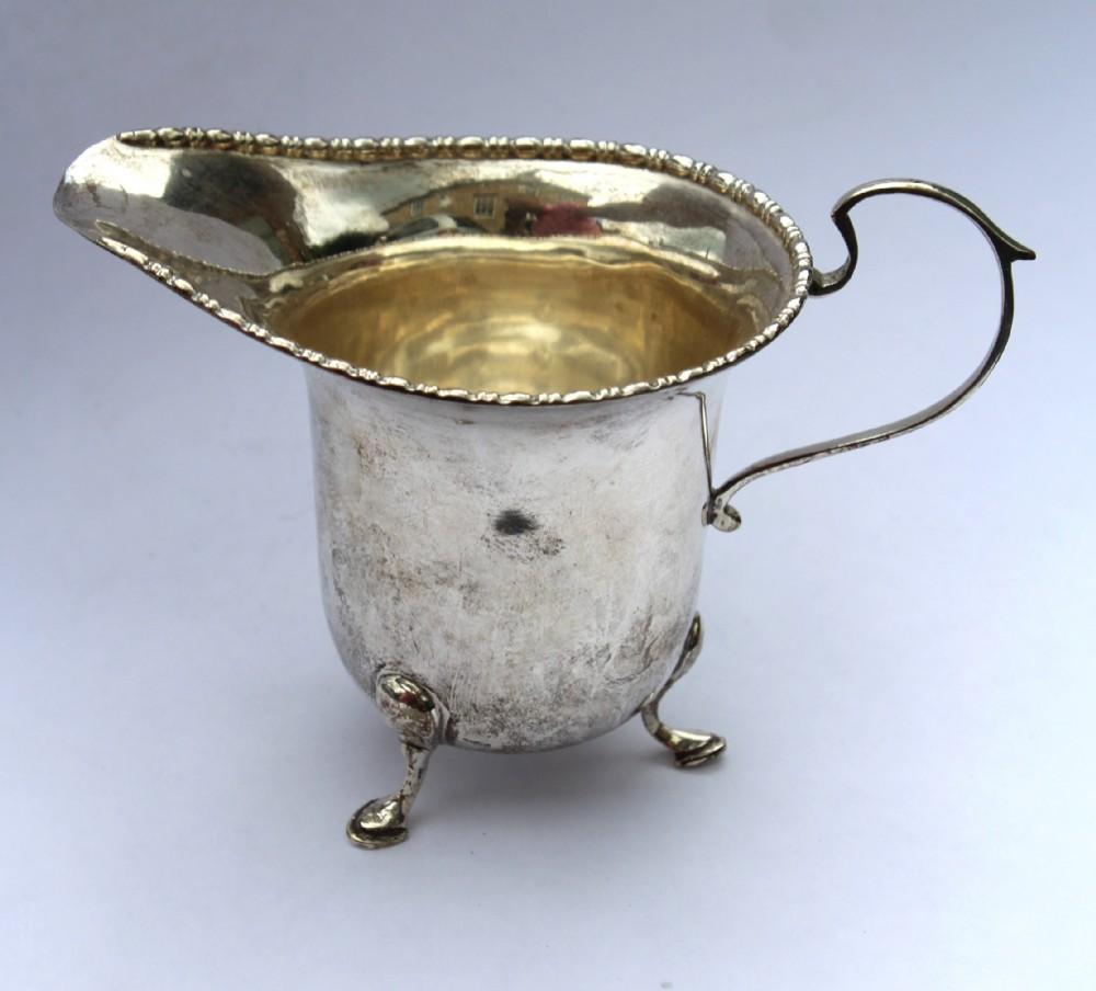 georgian style silver cream jug walker hall sheffield 1934