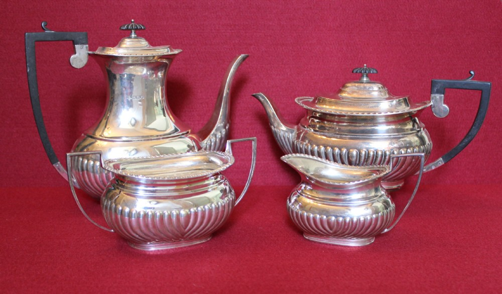 four piece silver teaset sheffield 1915 677oz