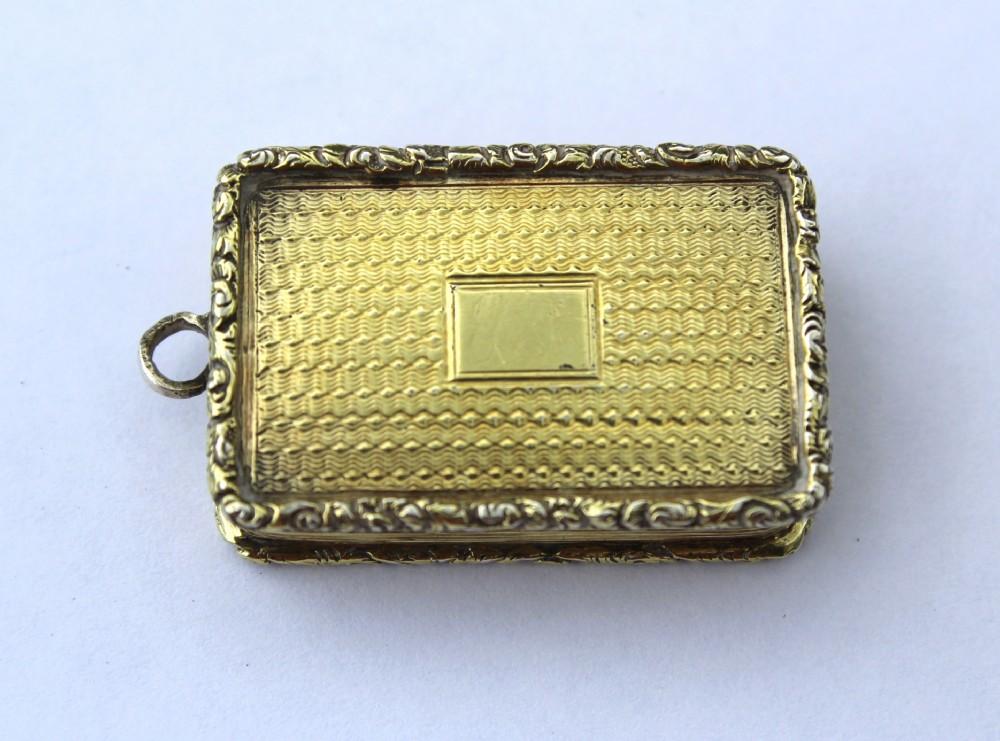 a william iv silver gilt vinaigrette william simpson birmingham 1836