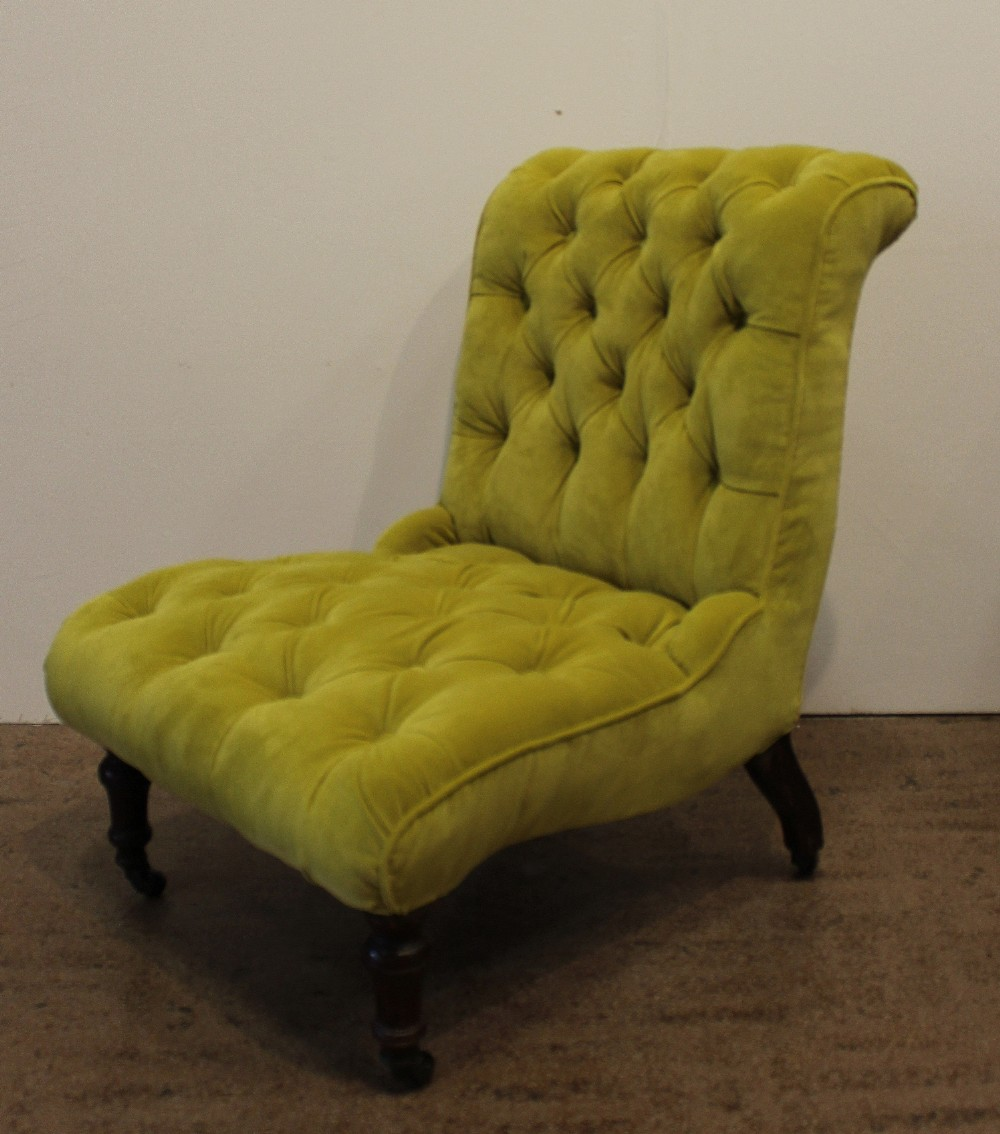 Antique Button Back Chartreuse Velvet Slipper Chair