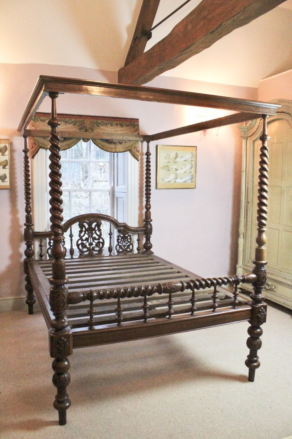 Portuguese Colonial Teak Four Poster Bed 455454