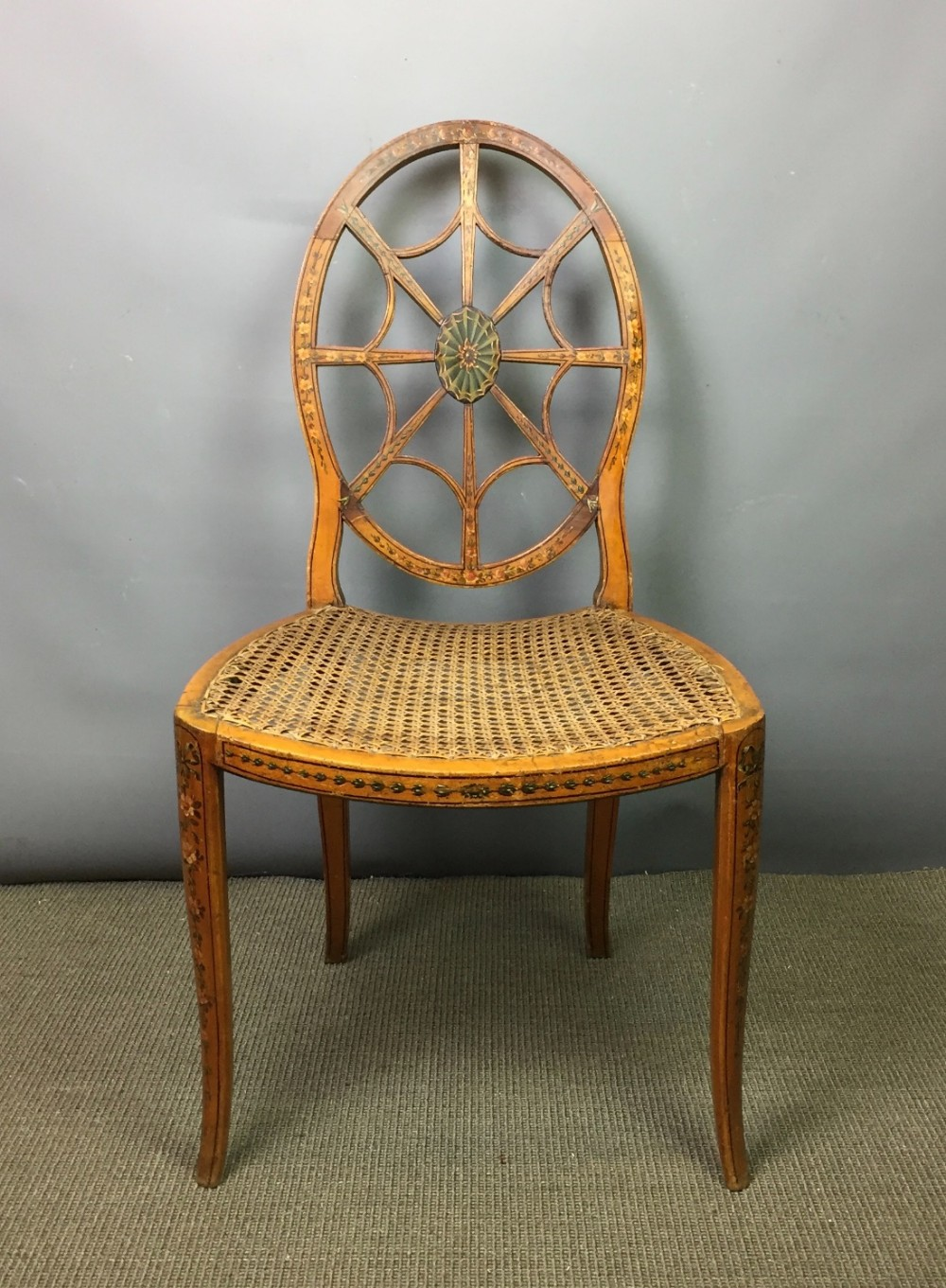 Thomas sheraton chair - Painted Spider S Web Back Chair In The Manner Of Thomas Sheraton