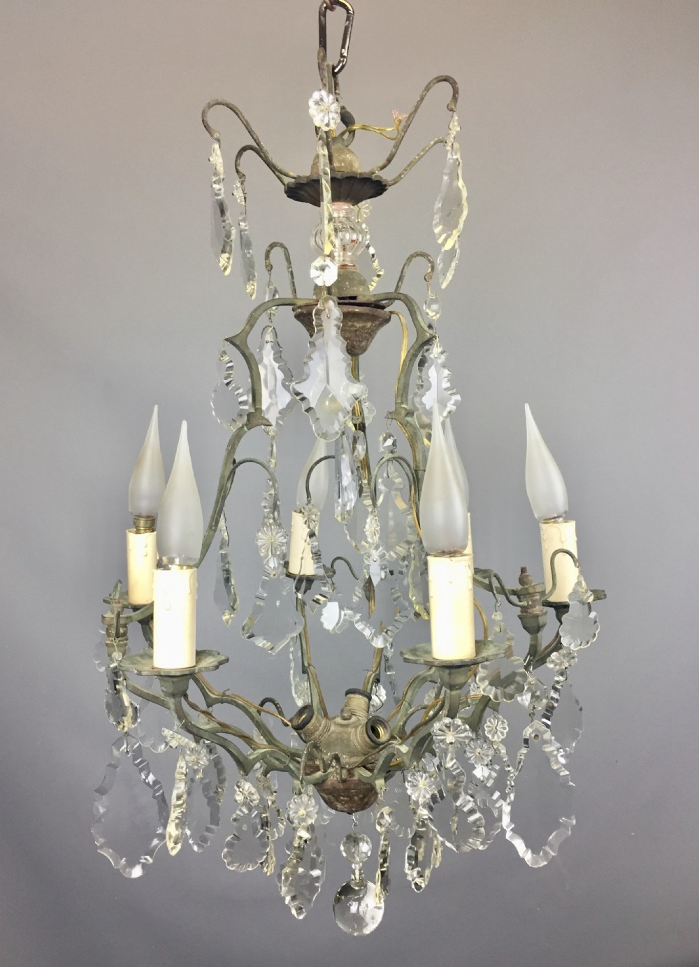 french cut glass six branch cage chandelier