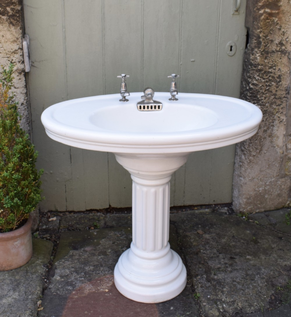 French Pedestal Sink: Antique French Porcelain Pedestal Sink From A Chateau In