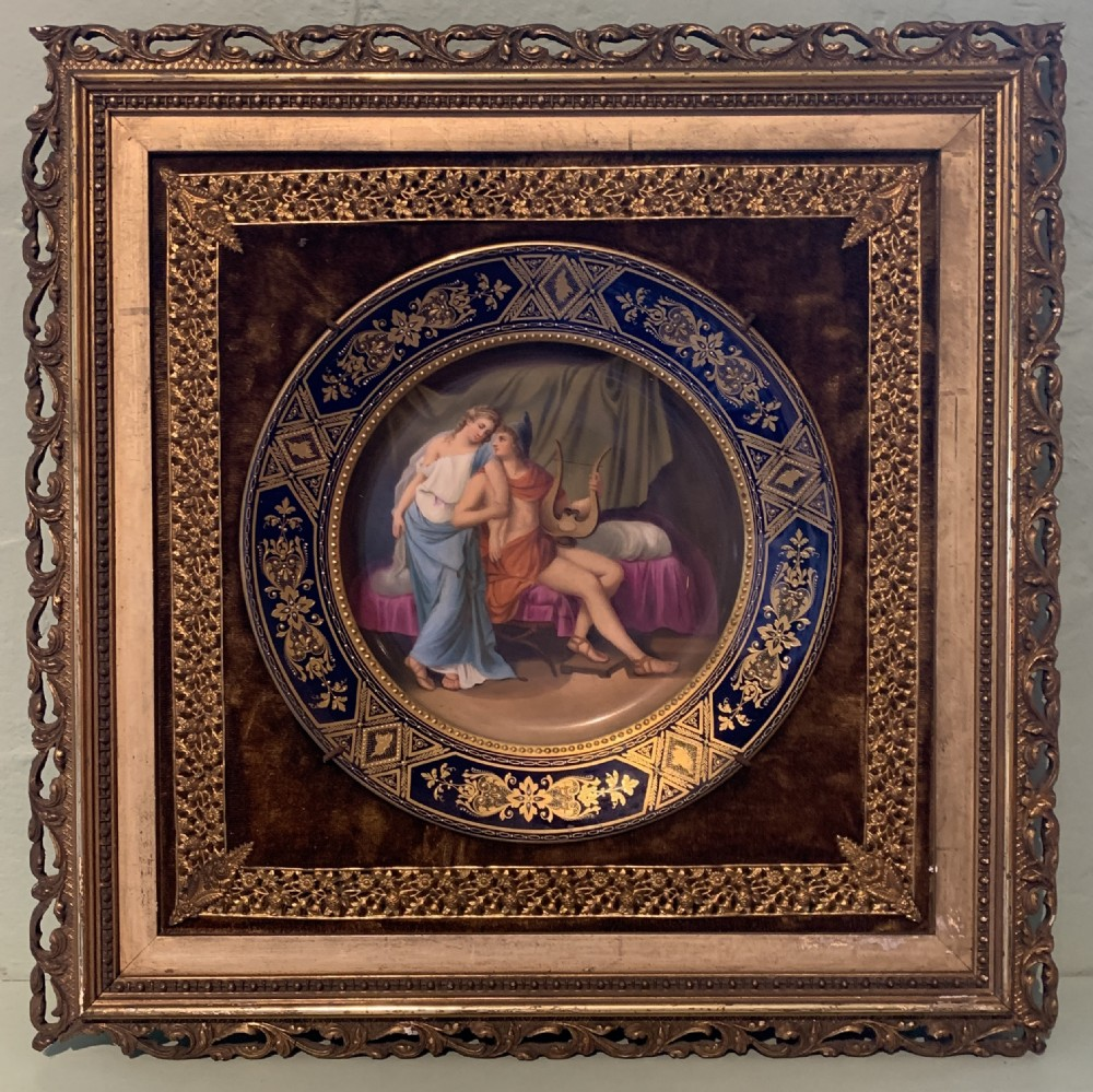 framed royal vienna hand painted porcelain cabinet plate of paris and helena