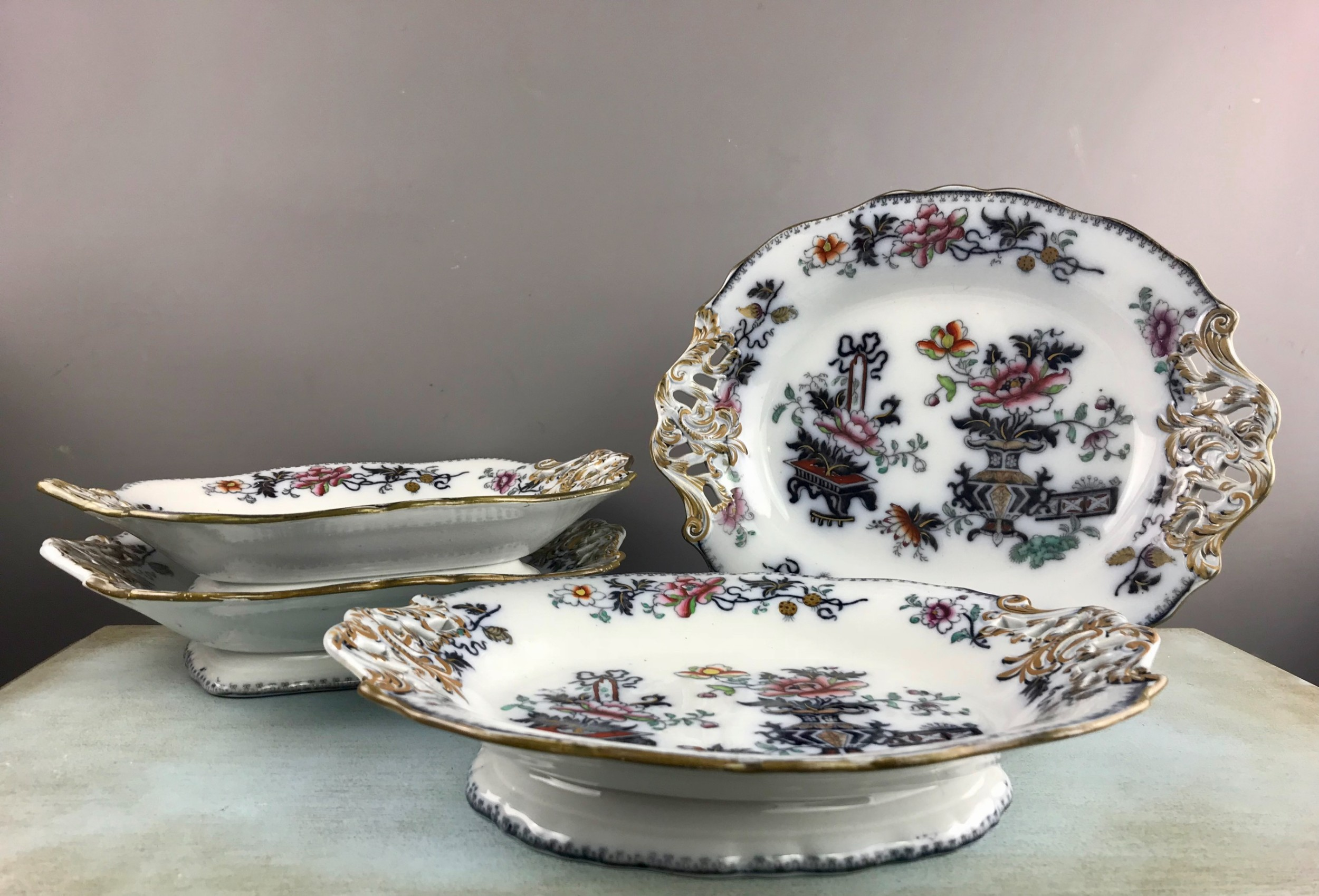 francis morley masons ironstone serving dishes tazzas in 'casket japan' pattern