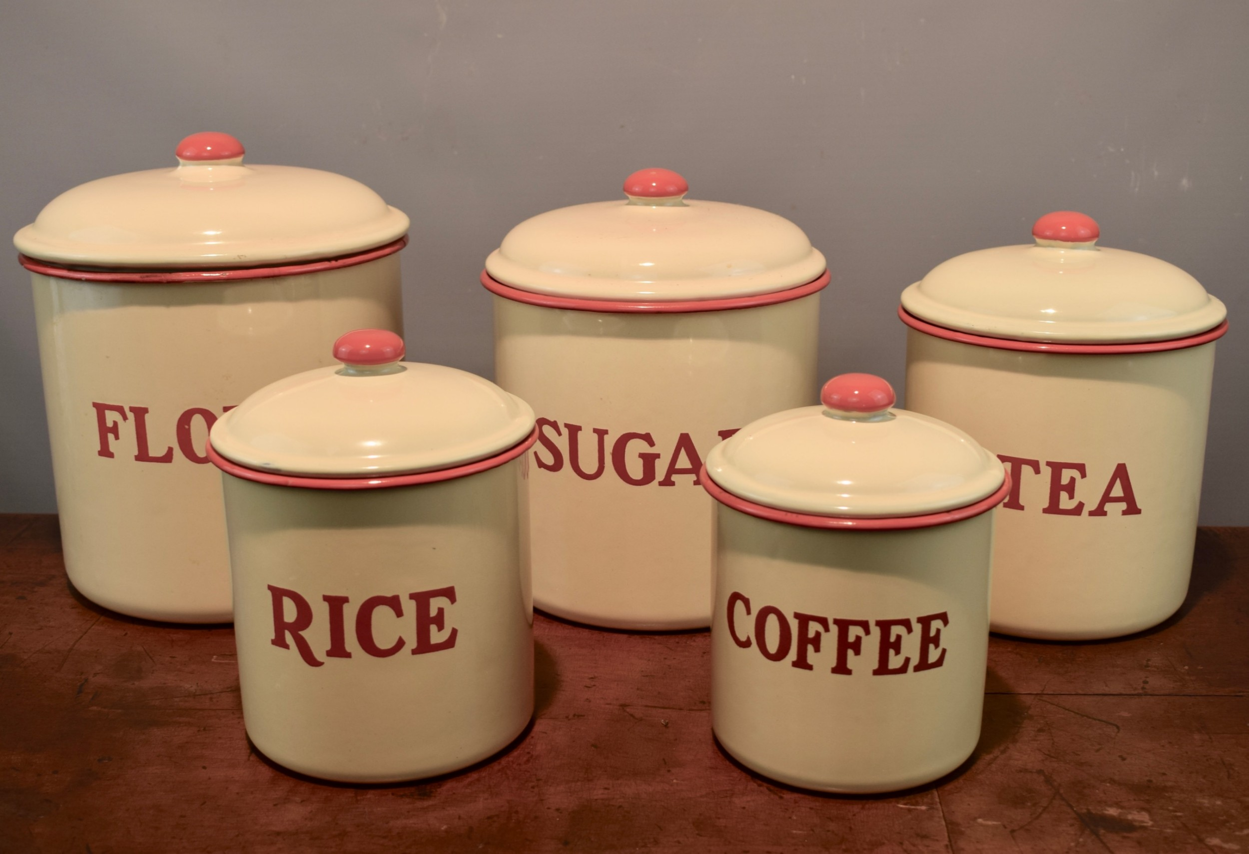enamel kitchen canisters set of five vintage enamel kitchen storage canisters 612744 sellingantiques co uk 6727