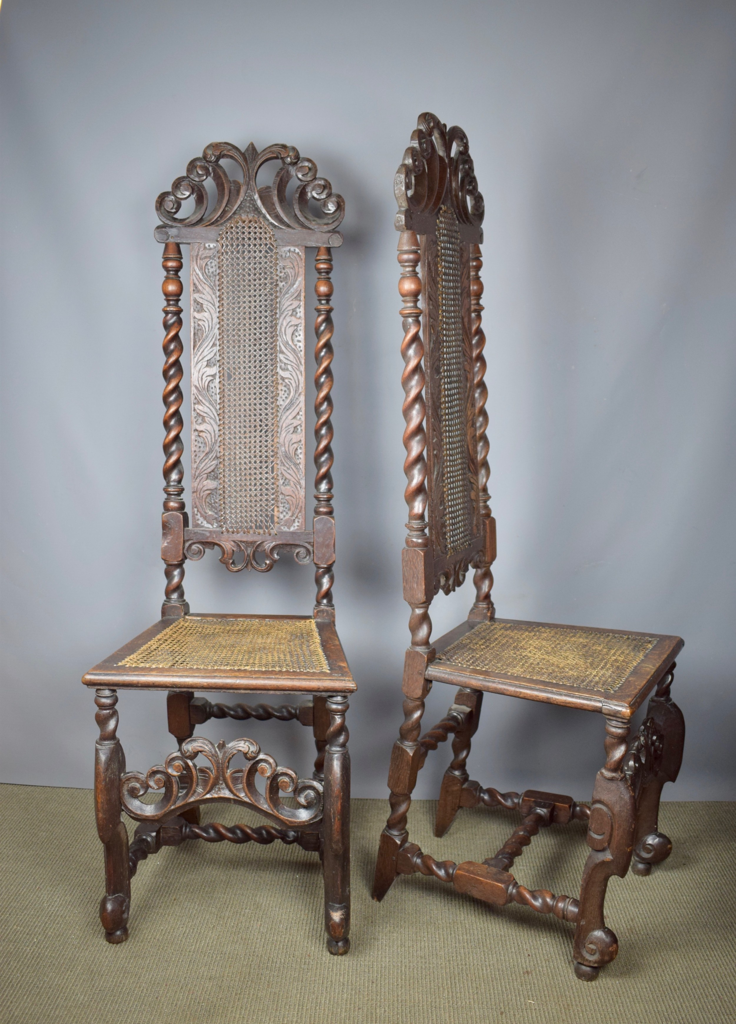 pair of william mary cane high back chairs with barley twist supports