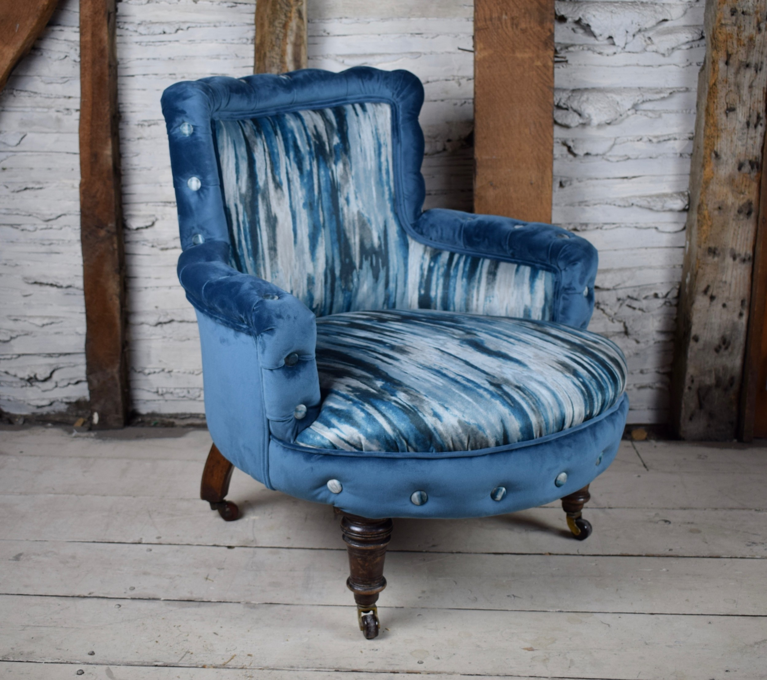 antique victorian blue velvet occasional button edge bedroom chair newly upholstered