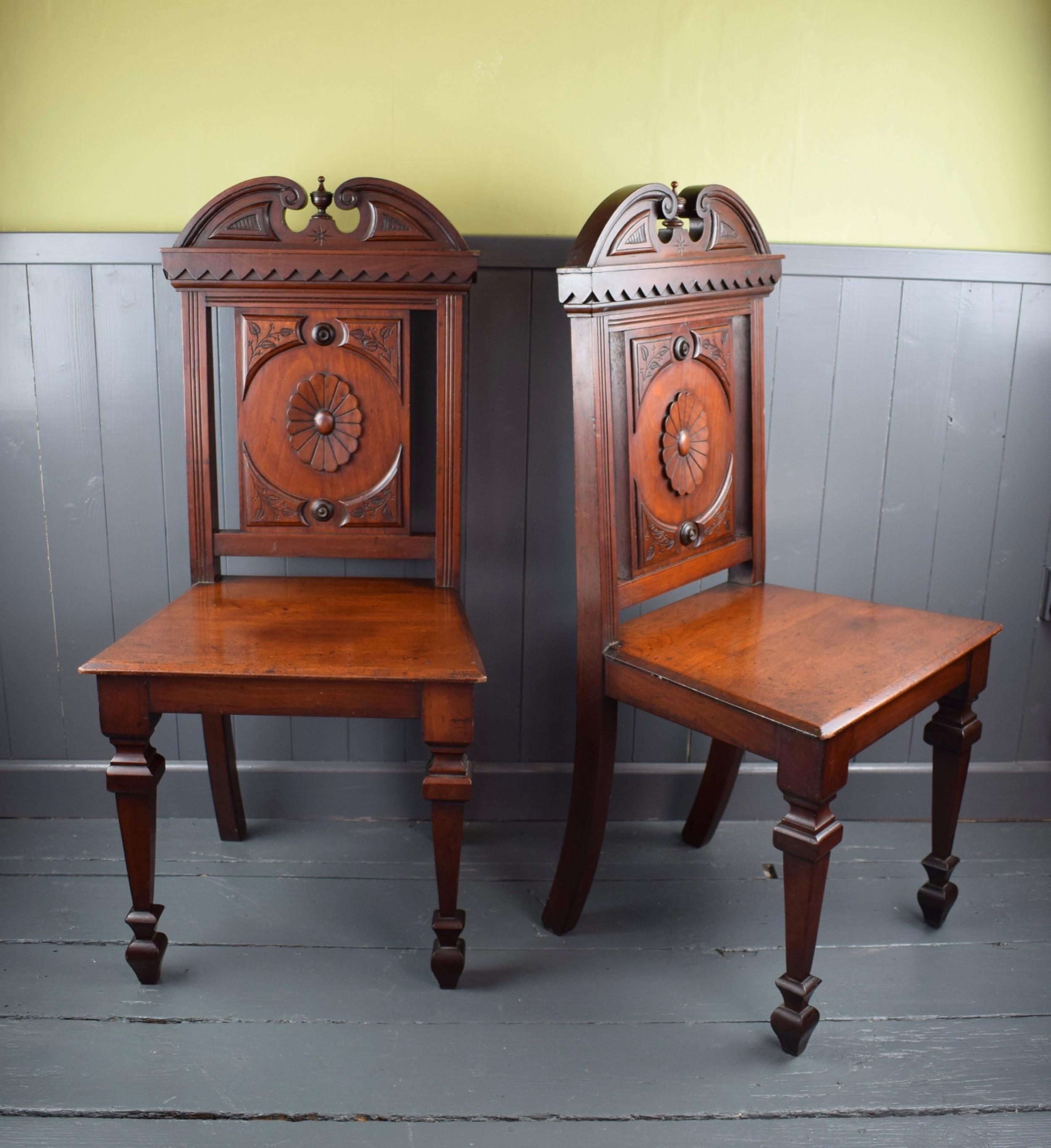 pair of victorian mahogany hall chairs