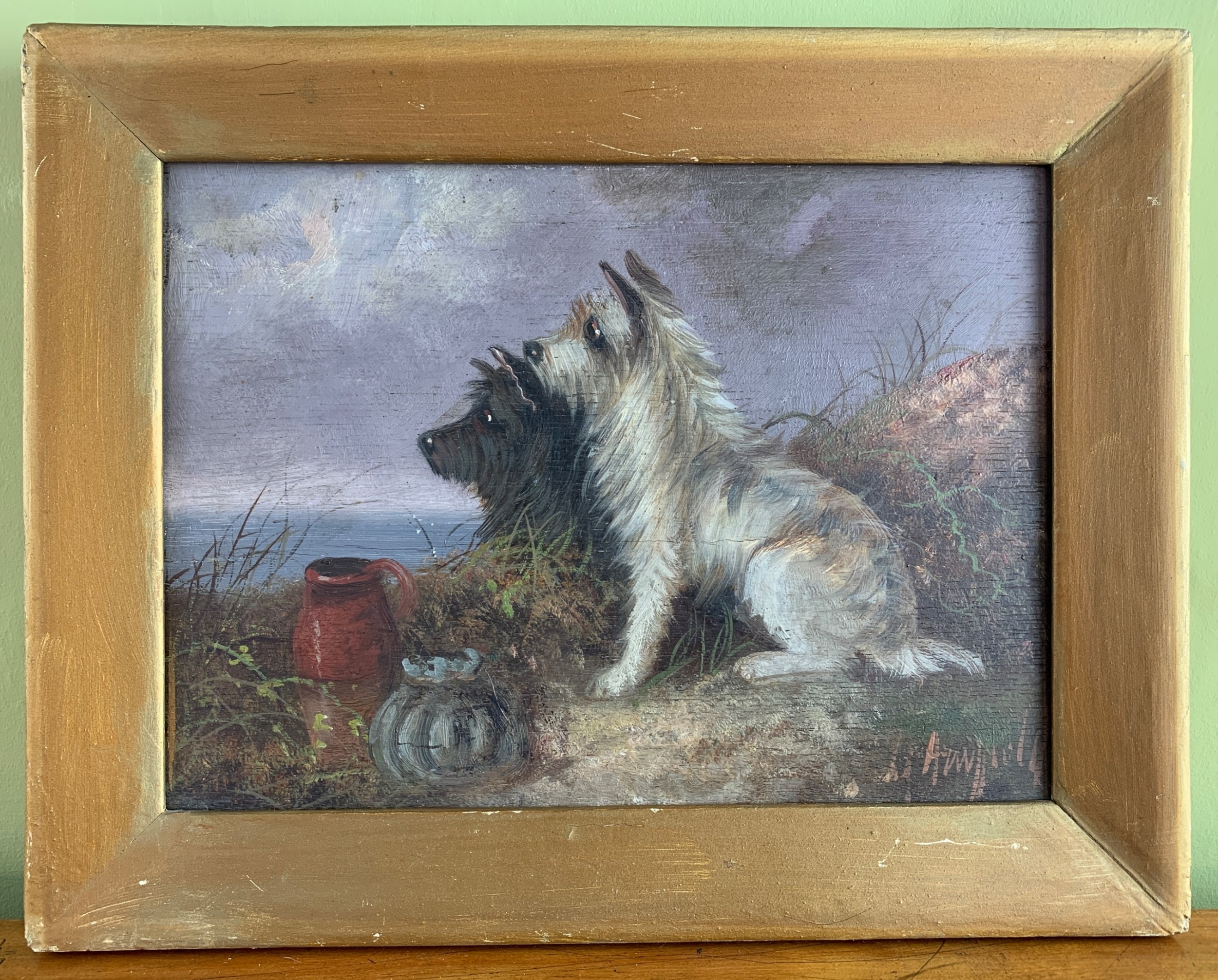 george armfield terriers in a landscape oil on panel signed