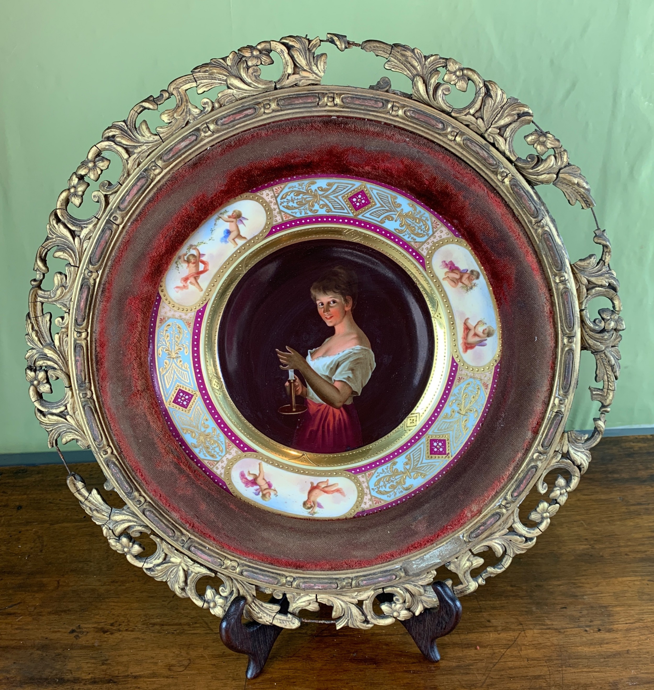 vienna hand painted porcelain cabinet plate titled gute nacht