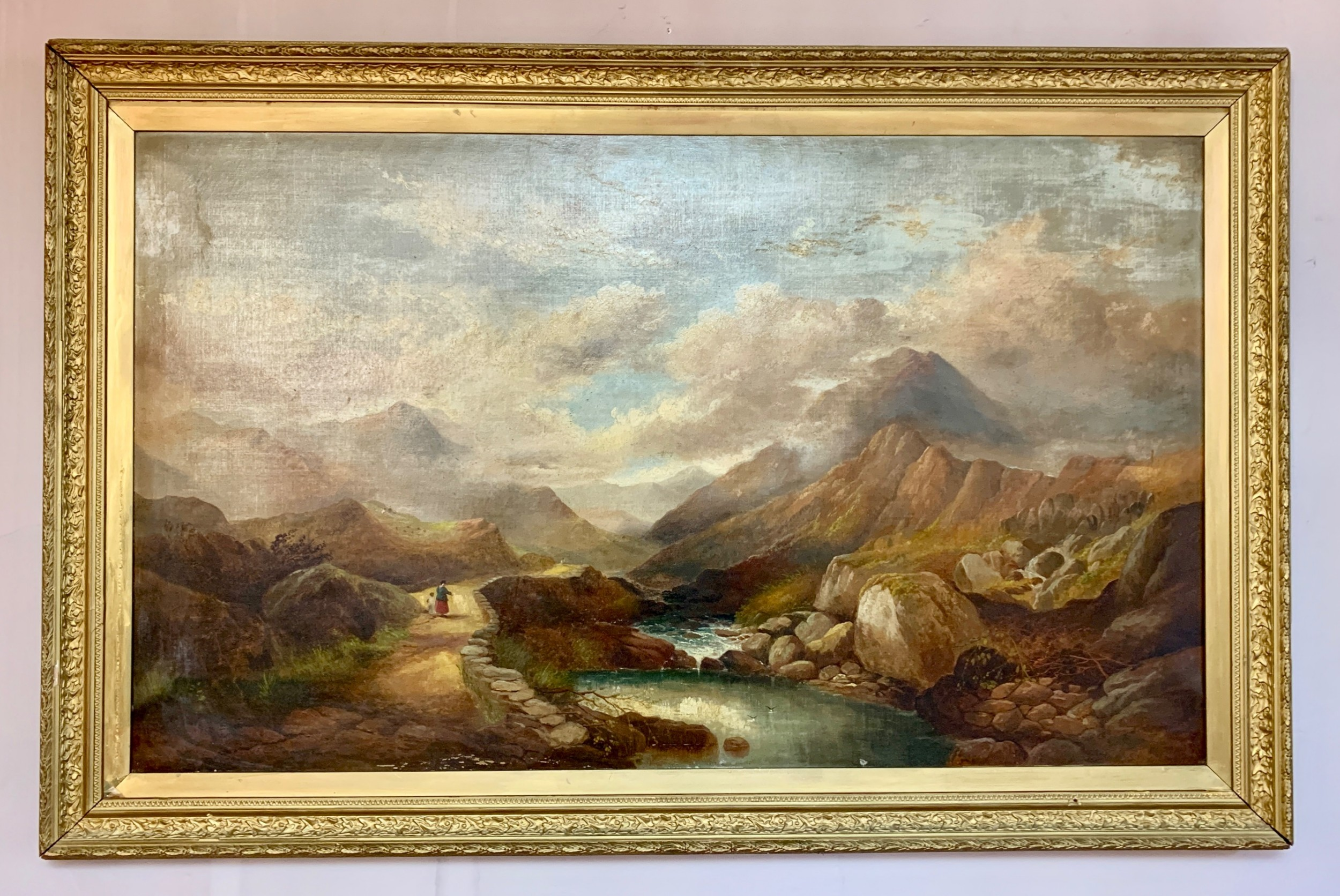 henry martin pope attr large oil on canvas of llanberis pass snowdonia