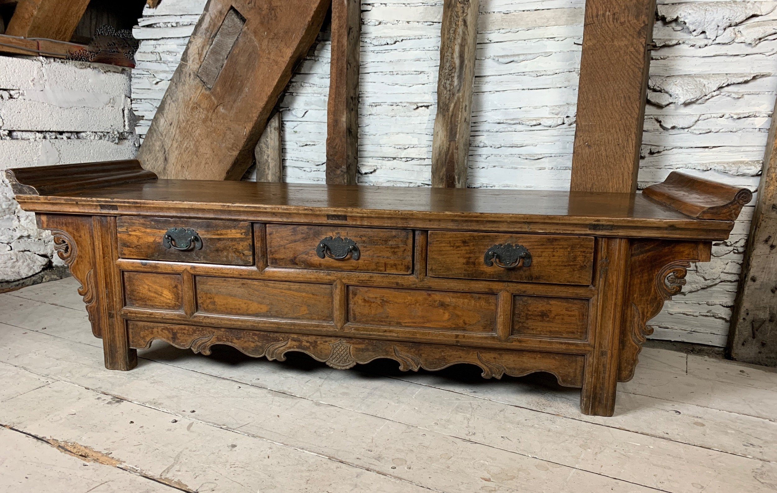 antique chinese elm low altar table with drawers early 20th century