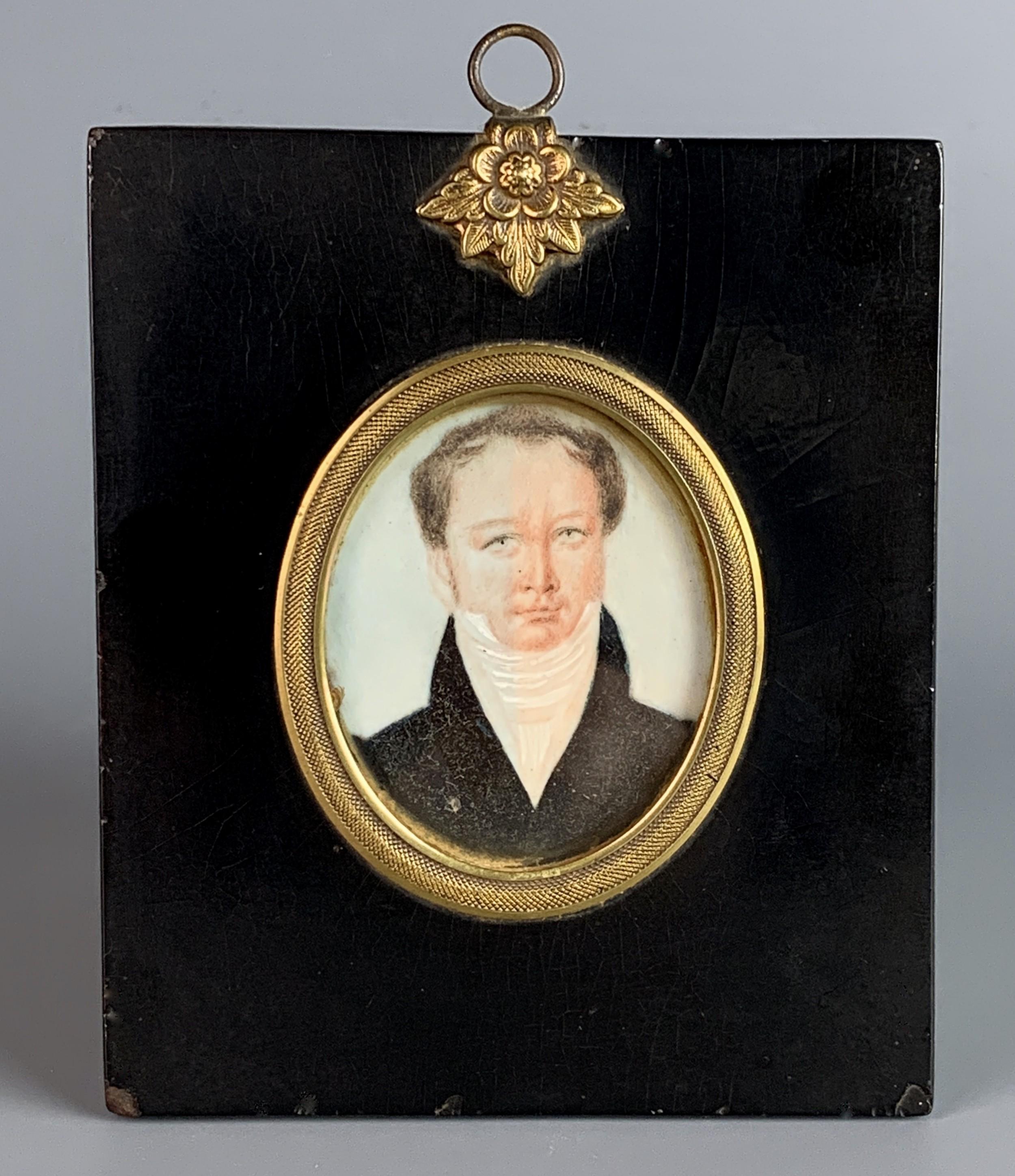 regency watercolour portrait miniature of a gentleman