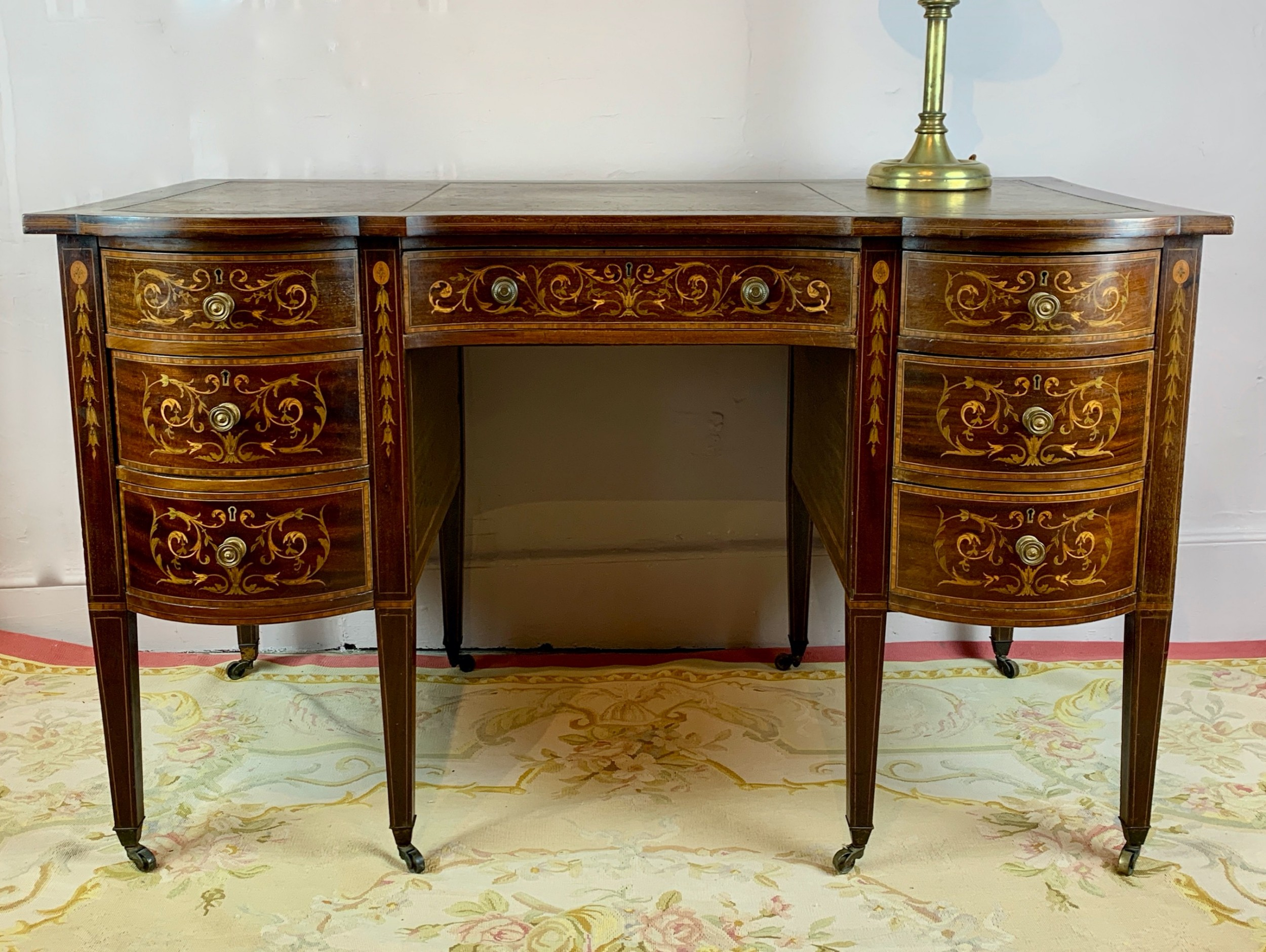 edwardian inlaid mahogany twin pedestal desk