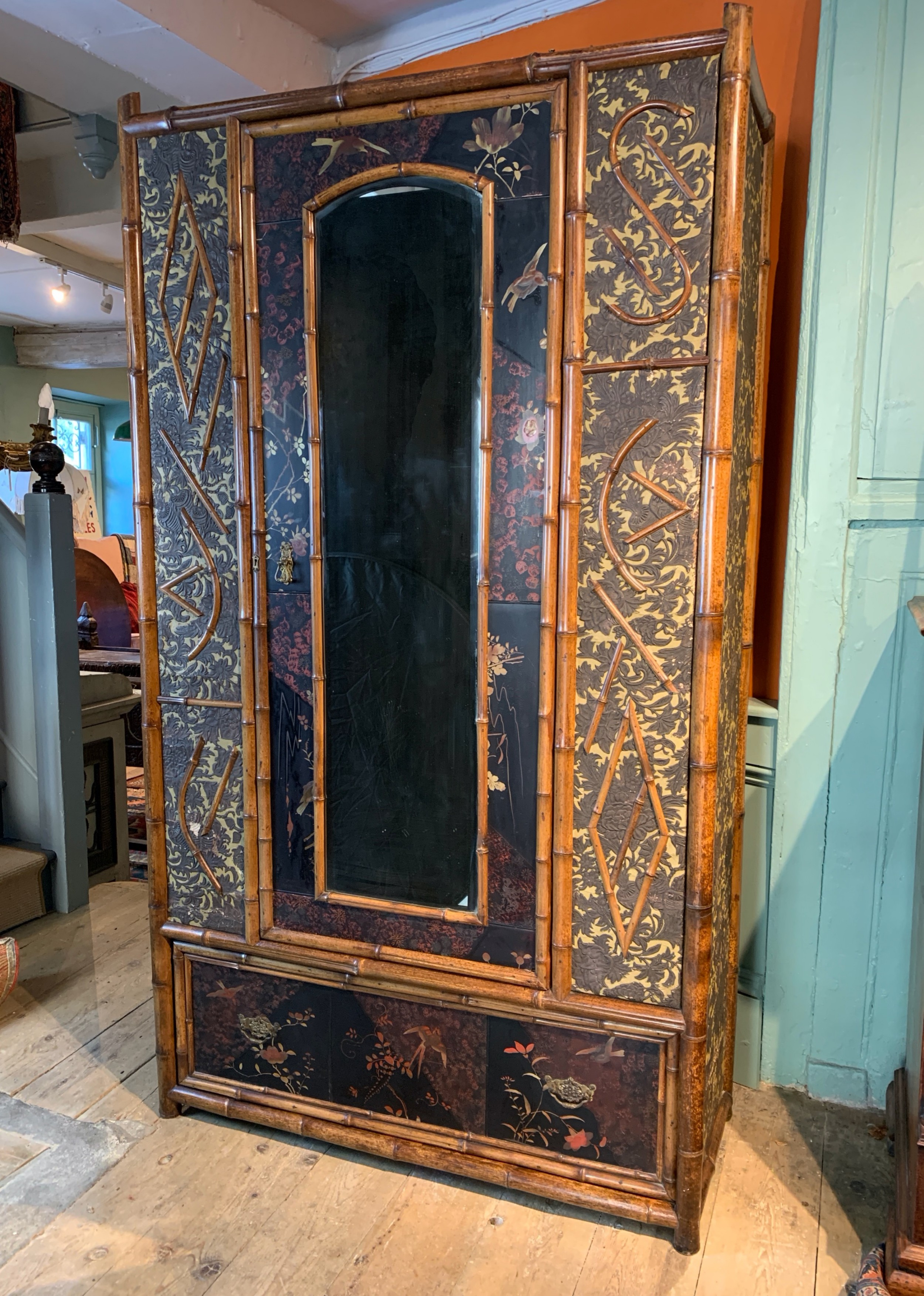 victorian aesthetic movement bamboo and lacquer panelled wardrobe
