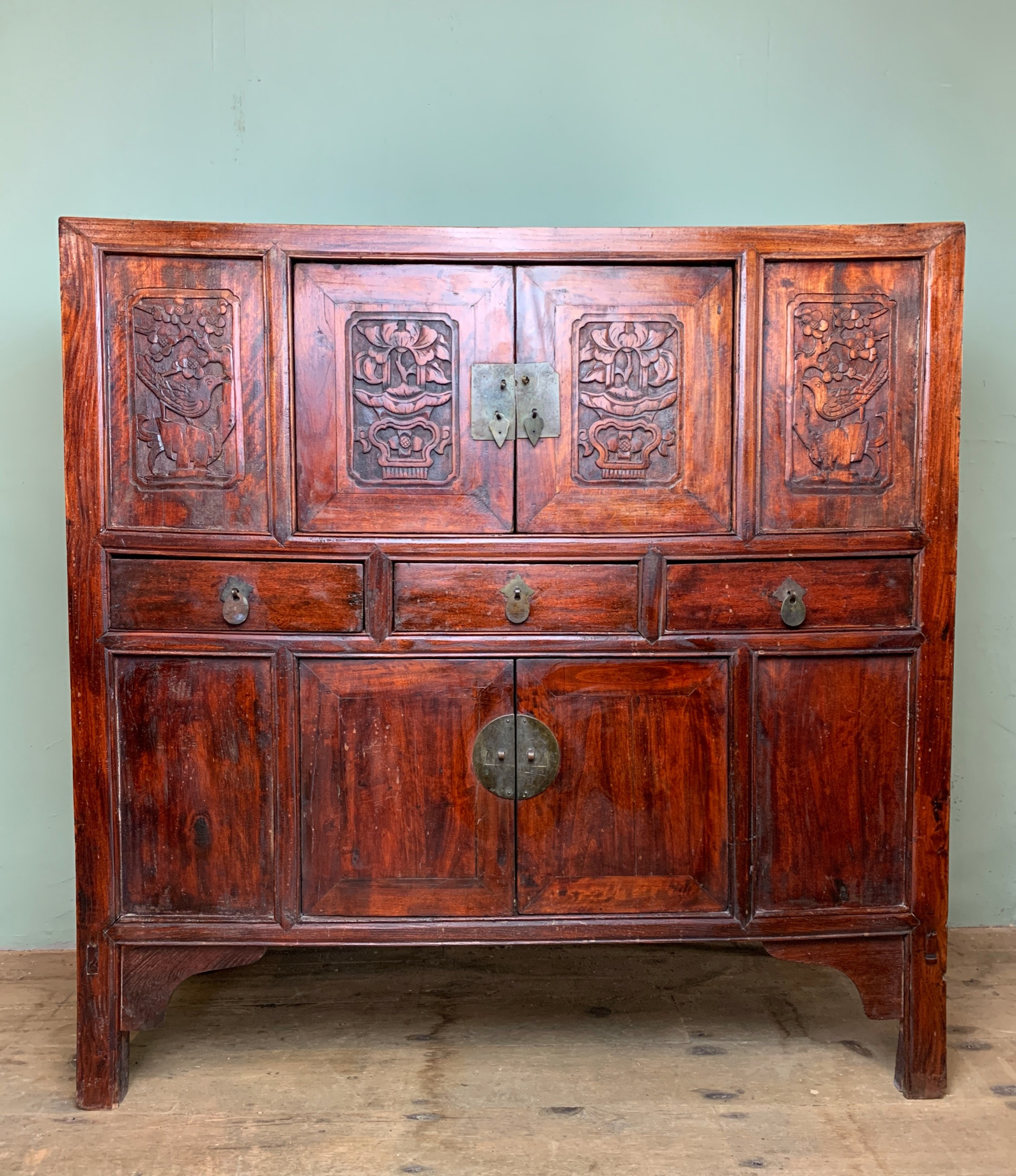 chinese carved elm wedding chest