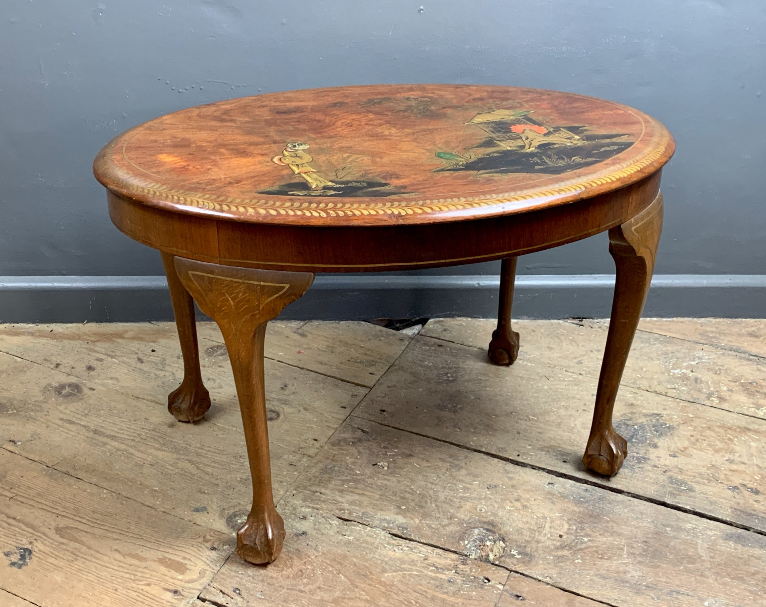 chinoiserie decorated oval mahogany coffee table