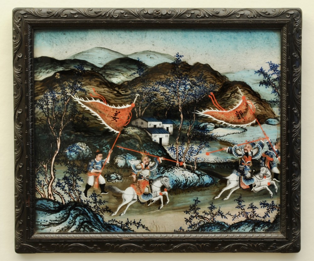 chinese reverse glass painting in original frame