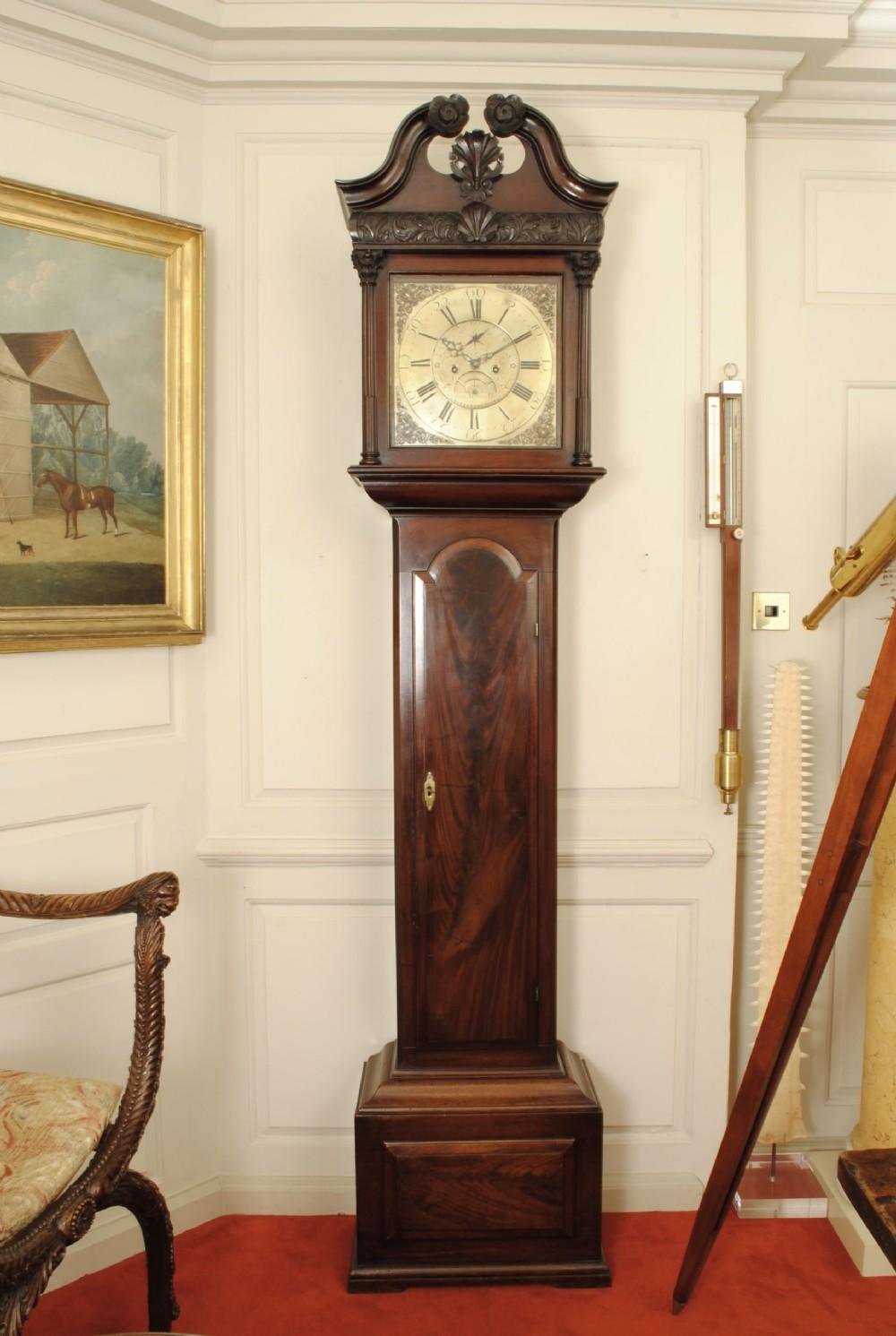 fine 18th century irish mahogany long case clock