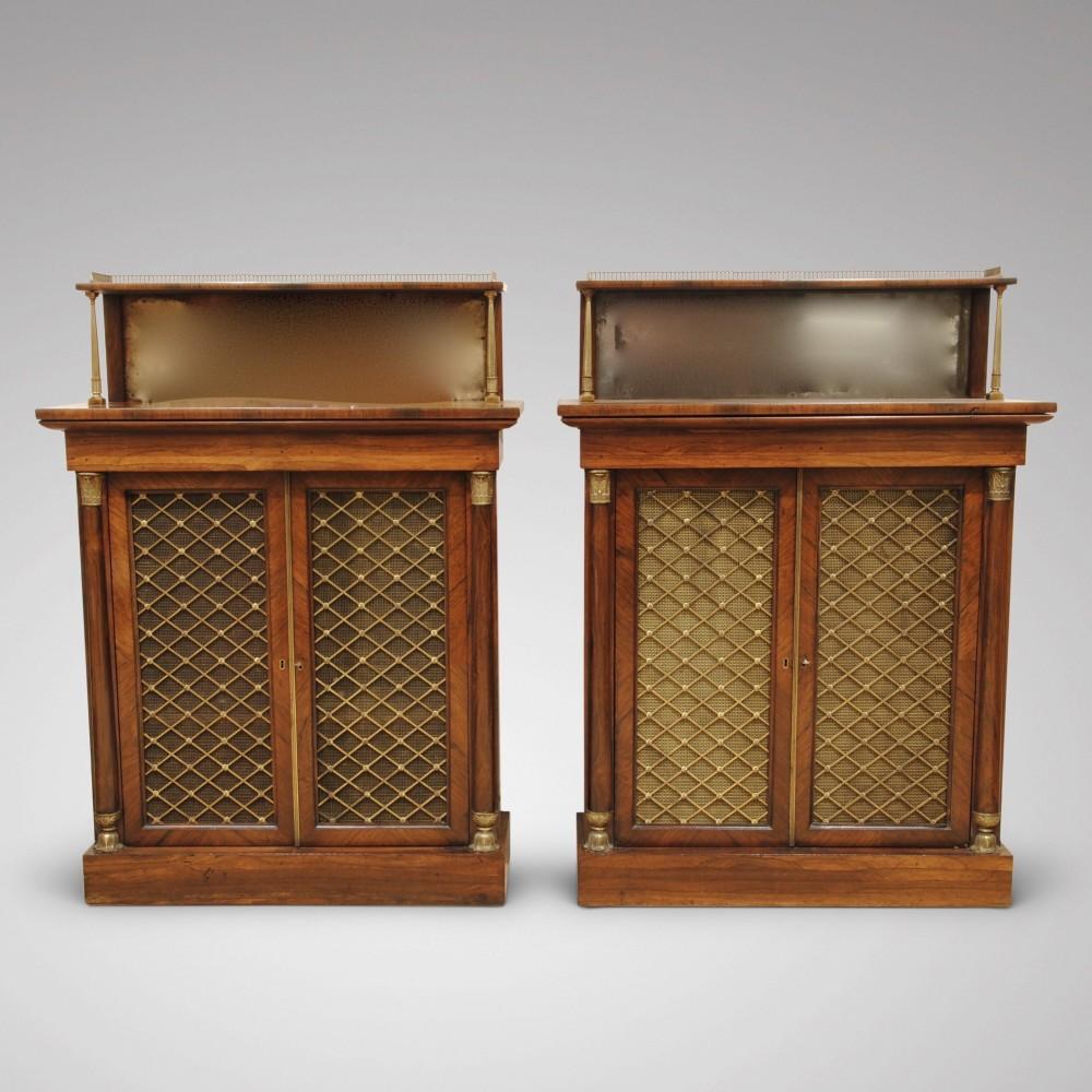 pair of regency rosewood side cabinets