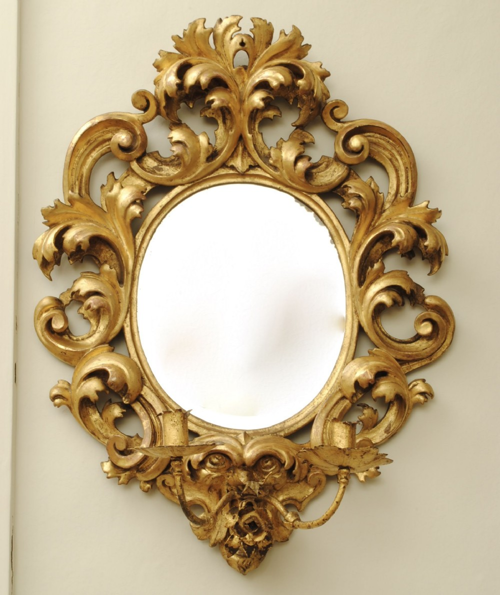 florentine carved gilt wood wall sconce