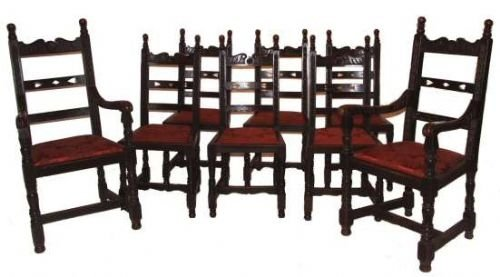 Large Victorian 10 Seat Oak Extending Dining Table And 8 ...
