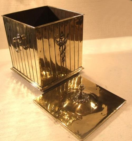 edwardian brass coal bin - photo angle #3