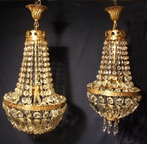 near matching pair of empire style antique chandeliers - Near Matching Pair Of Empire Style Antique Chandeliers 105700
