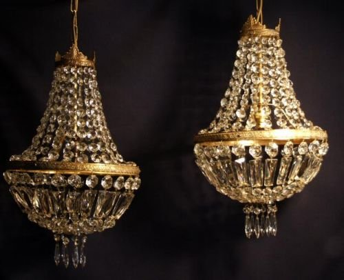 Matching pair of antique empire style purse chandeliers 118417 matching pair of antique empire style purse chandeliers mozeypictures