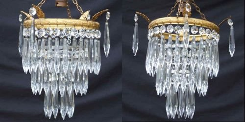 pair matching edwardian 3 tier icicle drop chandeliers