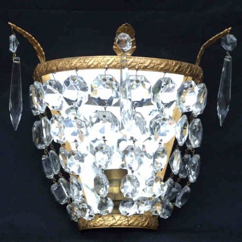 2 Antique Crystal Wall Lights 149923 Sellingantiques.co.uk
