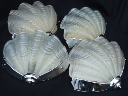 4 matching art deco shell wall lights 156970 sellingantiques 4 matching art deco shell wall lights mozeypictures