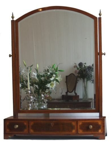 Large Georgian Style Inlaid Dressing Table Mirror