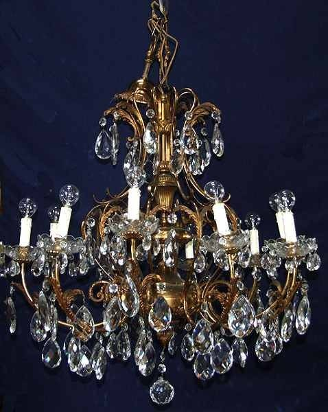 large brass and glass antique chandelier - Large Brass And Glass Antique Chandelier 19288 Sellingantiques.co.uk