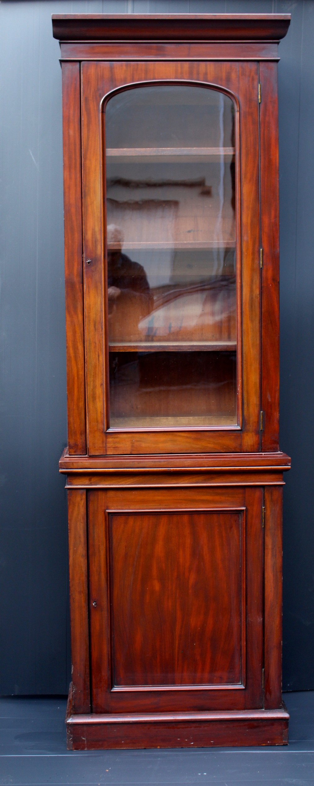 stunning victorian figured mahogany glazed bookcase