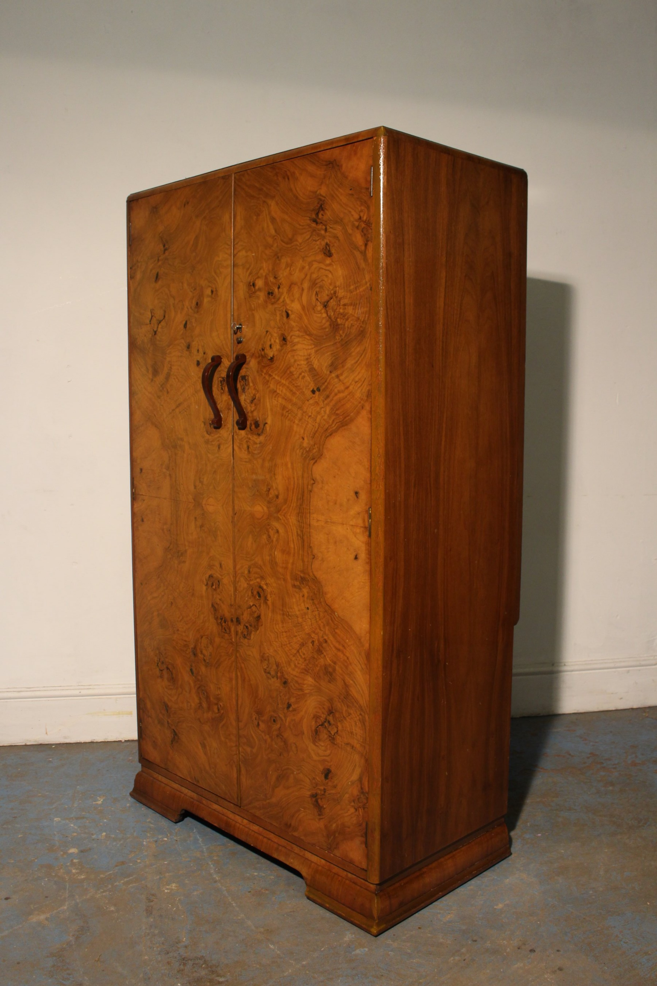antique art deco walnut wardrobe circa 1930