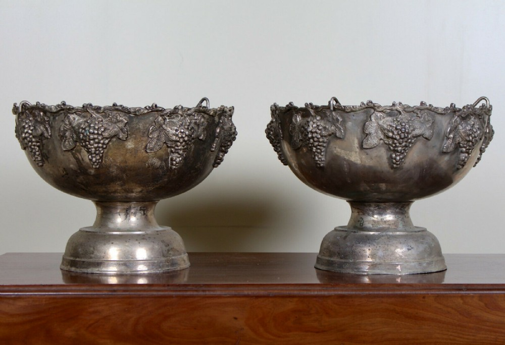 pair of large wine and champagne coolers punch bowls