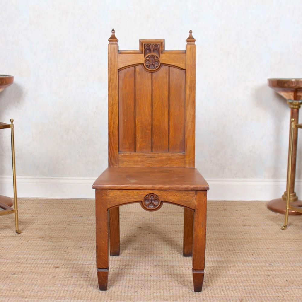 gothic oak hall chair 19th century