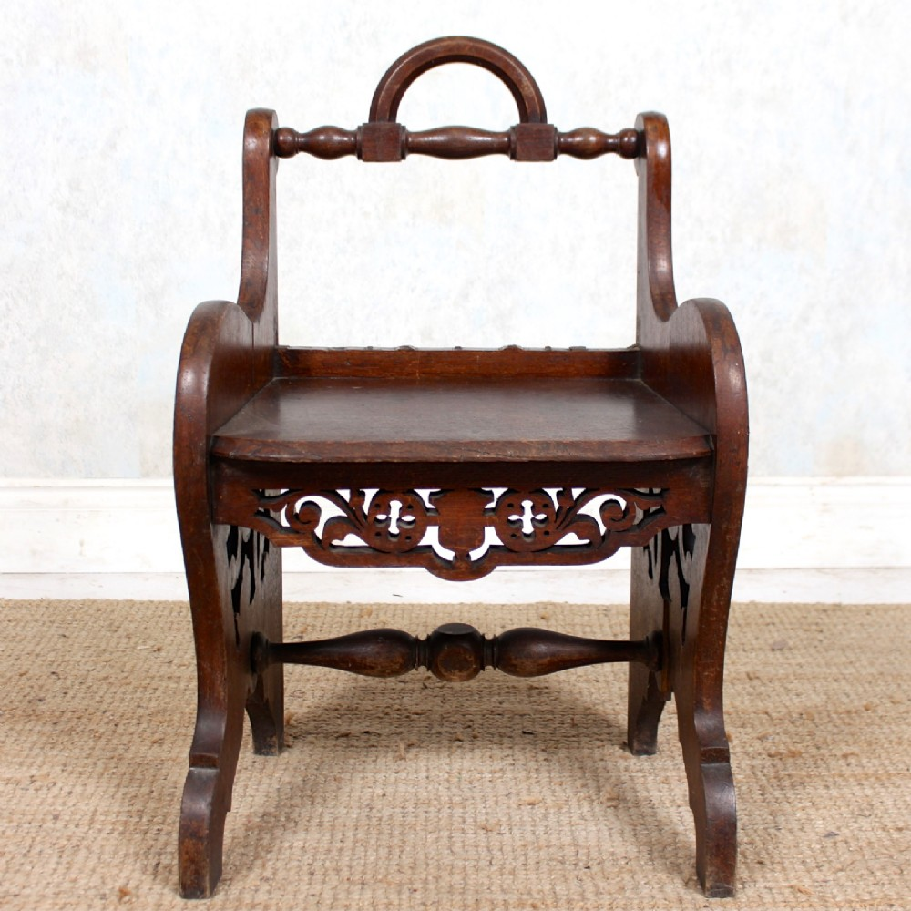 victorian gothic carved oak hall chair