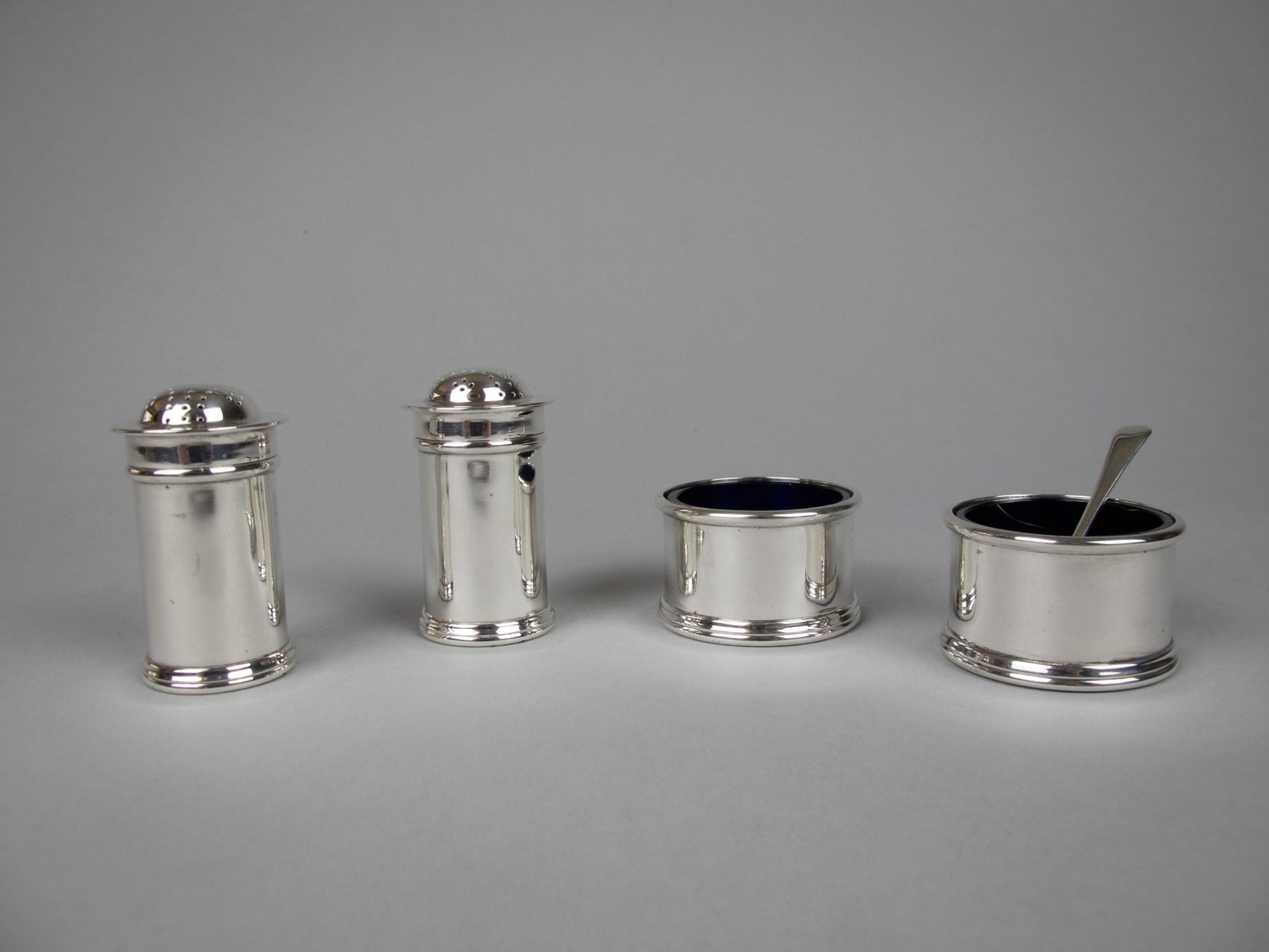 scottish sterling silver four piece cruet set by james weir glasgow 1924